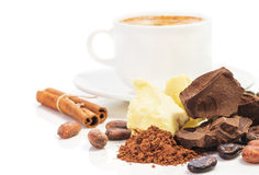 Cup of hot chocolate and ingredients for cooking  homemade choco Royalty Free Stock Photography
