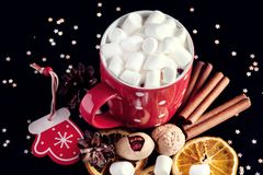 Cup of hot chocolate with marshmallow Nuts Cinnamon Orange on black background Above Royalty Free Stock Photos