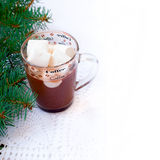 Cup of hot chocolate with marshmallows and decorative snowflake on the background of fir branches. Christmas card Stock Photos