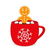 A cup of hot chocolate with marshmallows and a gingerbread man in it. Christmas design vector illustration