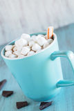 Cup of Hot Chocolate With Marshmallows and Peppermint Royalty Free Stock Photography