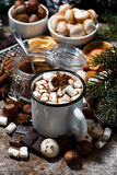Cup of hot chocolate with marshmallows and sweets Stock Photo