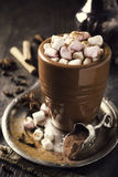 Cup of hot chocolate with mini marshmallows Royalty Free Stock Photo