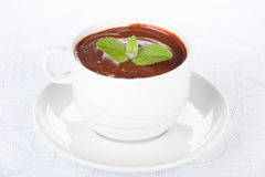 Cup of hot chocolate with mint. Stock Image