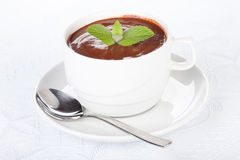 Cup of hot chocolate with mint. Stock Photo