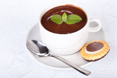 Cup of hot chocolate with mint. Royalty Free Stock Image