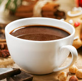 Cup of hot chocolate. Mug of hot chocolate with gingerbread, nuts and cinnamon Stock Images