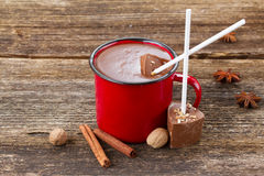 Cup of hot chocolate. Mug with hot chocolate and spices on wooden table stock photo
