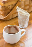 Cup of hot chocolate and napkin Royalty Free Stock Images
