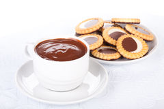 Cup of hot chocolate and pastry Stock Photography