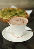Cup of hot chocolate with Pizza Japanese style Stock Photo