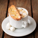 A Cup of Hot Chocolate with Pumpkin Biscotti Royalty Free Stock Photography
