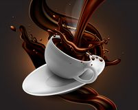 Cup of hot chocolate with splash effect and transparent steam. royalty free illustration