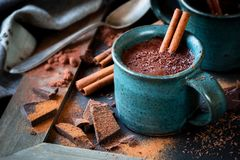 Cup of hot chocolate with a cinnamon stick Stock Photos