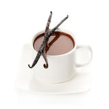 Cup of hot chocolate with vanilla sticks Stock Photos