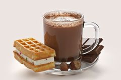 Cup of hot chocolate and wafer Royalty Free Stock Photo