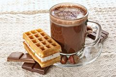 Cup of hot chocolate and wafer Royalty Free Stock Images