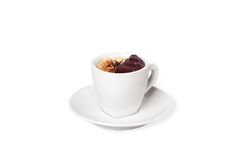 Cup of hot chocolate with walnuts Royalty Free Stock Image