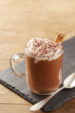 Cup of hot chocolate with whipped cream and cinnamon Stock Image