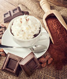 Cup of hot chocolate with whipped cream Stock Photo