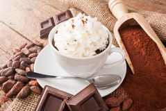 Cup of hot chocolate with whipped cream Stock Images