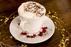 A cup of hot chocolate with whipped cream. royalty free stock photography
