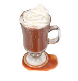 Cup of hot chocolate with whipped creame. On a white background Royalty Free Stock Image