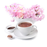 Cup of hot chocolate on white Stock Images
