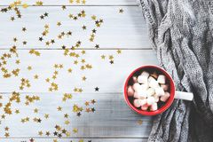 Cup of hot chocolate on wooden background Royalty Free Stock Images
