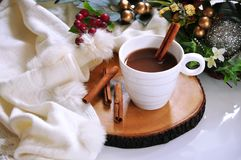 A cup of Hot Chocolate on Wooden Board. A cup of hot chocolate with cinnamon put on wooden board royalty free stock images