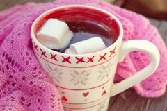 Cup of hot chocolate wrapped in a scarf Stock Photos