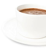 Cup of Hot Christmas Chocolate on white background, closeup. Stock Images
