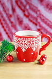 Cup of hot cocao with christmas toys and pine Royalty Free Stock Photo