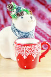 Cup of hot cocao with toy bear Royalty Free Stock Image