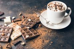 Cup of hot cocoa or Cappuccino or latte coffee. With marshmallow on a metal rustic tray. Chocolate bar, nuts, cocoa powder, copy space for your text royalty free stock photo