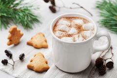 Cup of hot cocoa or chocolate with marshmallow, cinnamon and cookies on white table. Traditional winter drink. Stock Photography