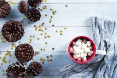 A cup of hot chocolate on white wooden table background Royalty Free Stock Images