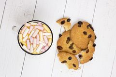 Cup of hot cocoa with color marshmallow and oatmeal cookies royalty free stock photos
