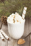 Cup of hot cocoa with cream on a dark background. Toning.  Royalty Free Stock Photo