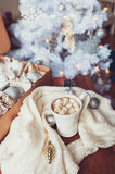 Cup of hot cocoa with marshmallow with Christmas decorations at home, Christmas tree on background Stock Photo
