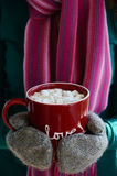 Cup of hot cocoa with marshmallow in woman's hands Royalty Free Stock Photography
