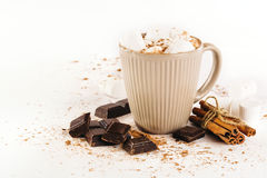 Cup of hot cocoa with marshmallows, chocolate and cinnamon Stock Images