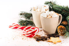 Cup of hot cocoa with marshmallows, chocolate and cinnamon Stock Image
