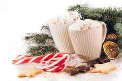 Cup of hot cocoa with marshmallows, chocolate and cinnamon Royalty Free Stock Images