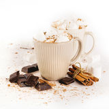 Cup of hot cocoa with marshmallows and cookies Royalty Free Stock Images