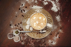 Cup hot cocoa with marshmallows, cookies on a desk with sugar powder for christmas holiday. royalty free stock image
