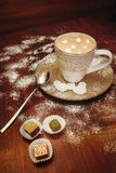 Cup hot cocoa with marshmallows, cookies on a desk with sugar powder for christmas holiday. stock image