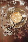 Cup hot cocoa with marshmallows, cookies on a desk with sugar powder for christmas holiday. royalty free stock photos