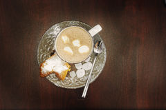 Cup hot cocoa with marshmallows, cookies on a desk with sugar powder for christmas holiday. stock photography