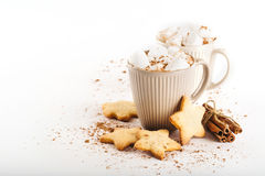 Cup of hot cocoa with marshmallows and cookies Stock Photography